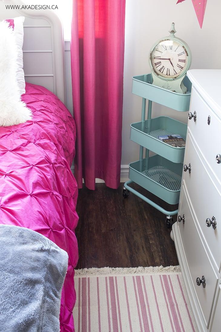 pink and aqua bedroom