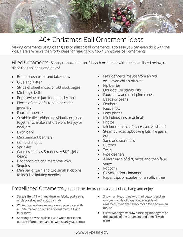 40 plus Christmas ball ornament ideas PRINTABLE