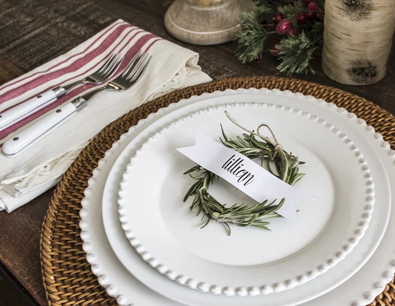 Home Made Lovely Rosemary Wreath Place Cards on Plate 5 BLOG PIC