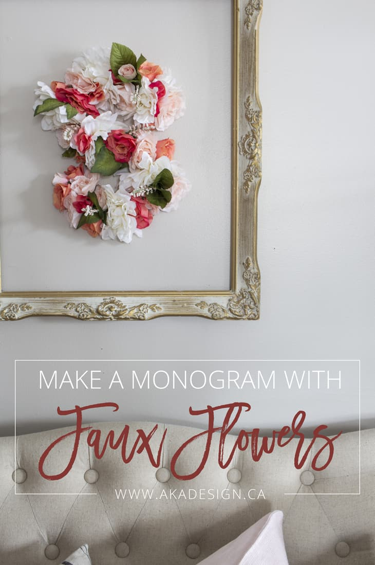 Make a monogram with faux flowers TITLE PIN