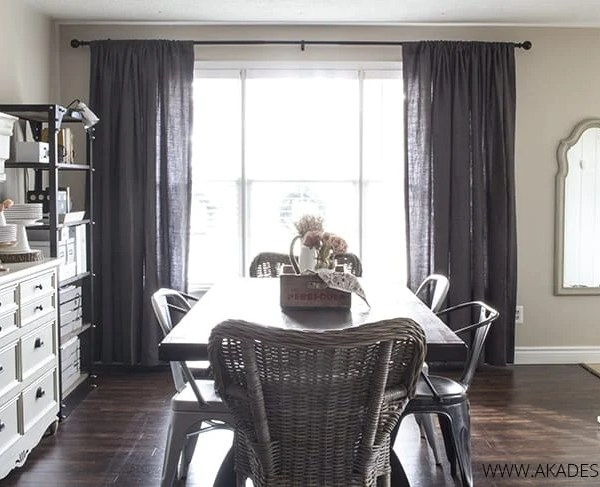 AKA Design Dining Room Grey Drapery