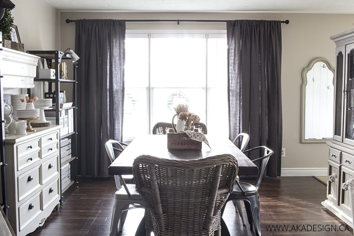 AKA Design Dining Room Grey Drapery