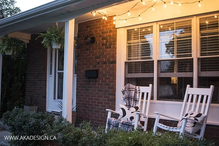 aka design front porch with twinkle lights