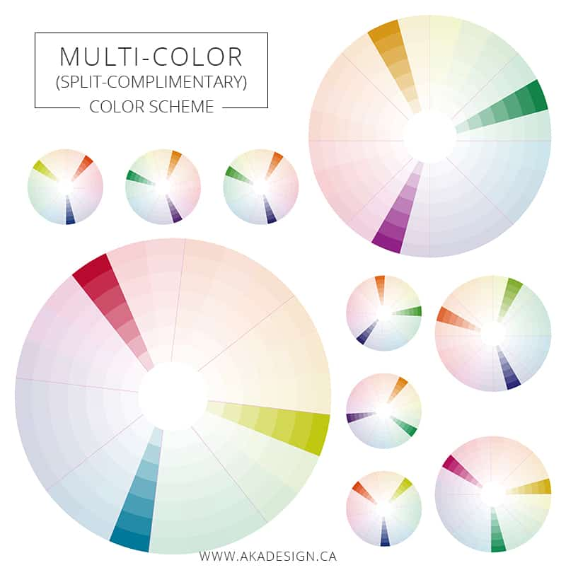 Multi-color or split complimentary color scheme