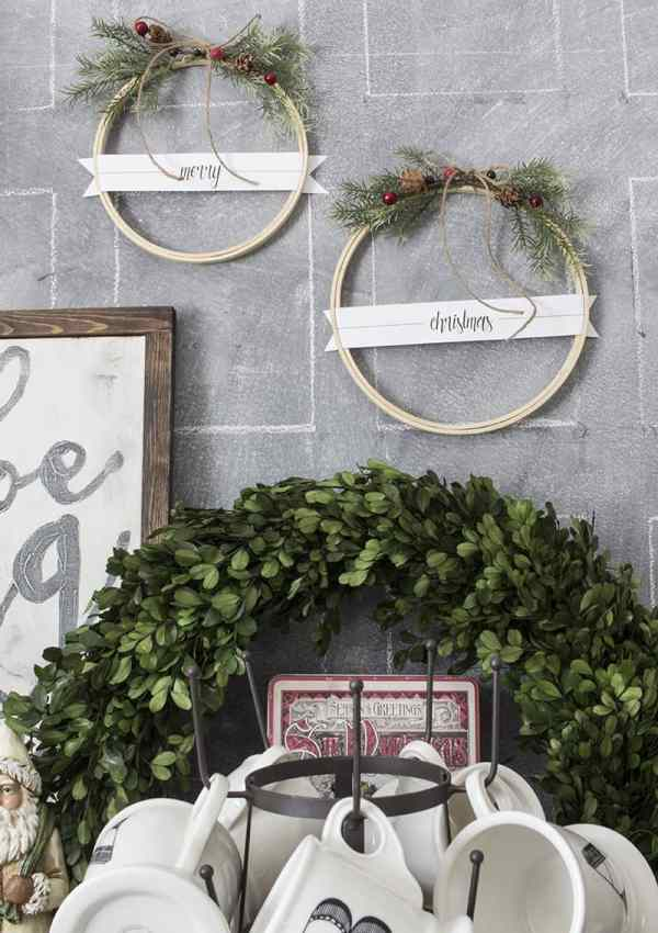 DIY Merry Christmas Embroidery Hoop Wreath Set – With Free Printable Tags