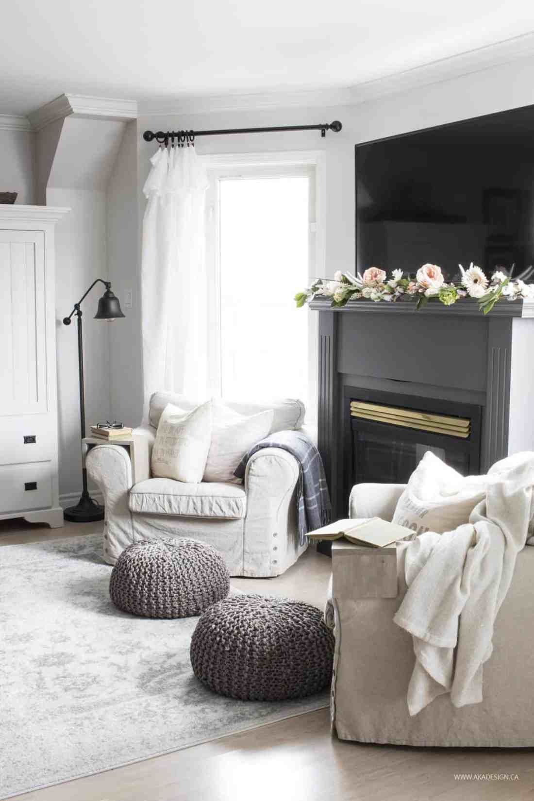 armchairs and gas fireplace