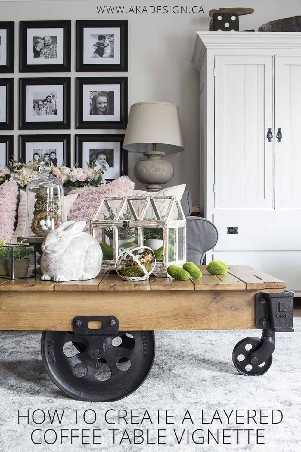 how to create a layered coffee table vignette