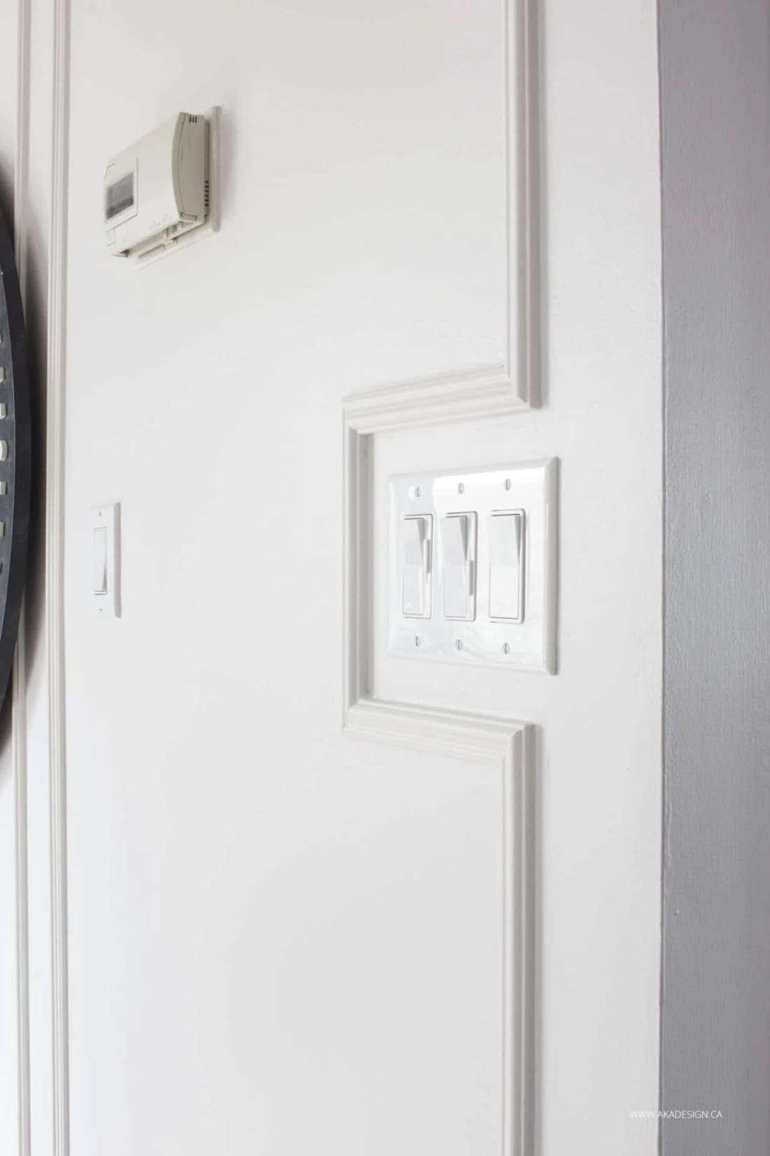 trim detail around light switch