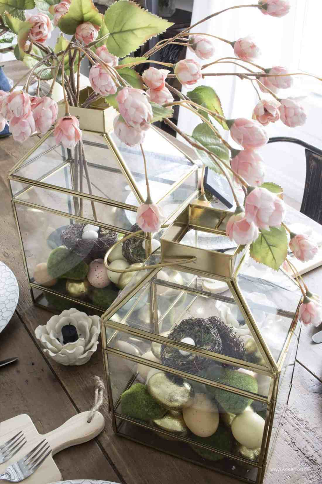Gold lanterns for easter