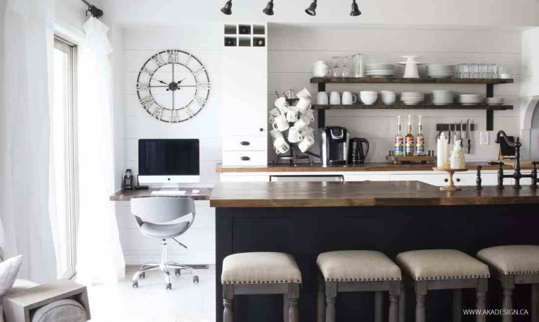 Home Made Lovely | black, white and wood kitchen