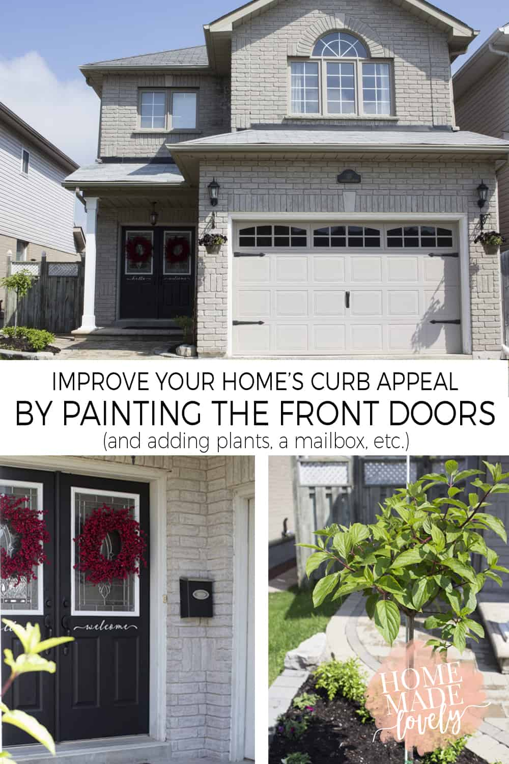 Updating your curb appeal is easy when the weather cooperates! We've already added windows and hinges to the garage door. Now we're painting the front doors black and adding plants!