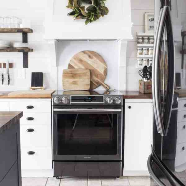 slide in black stainless samsung range