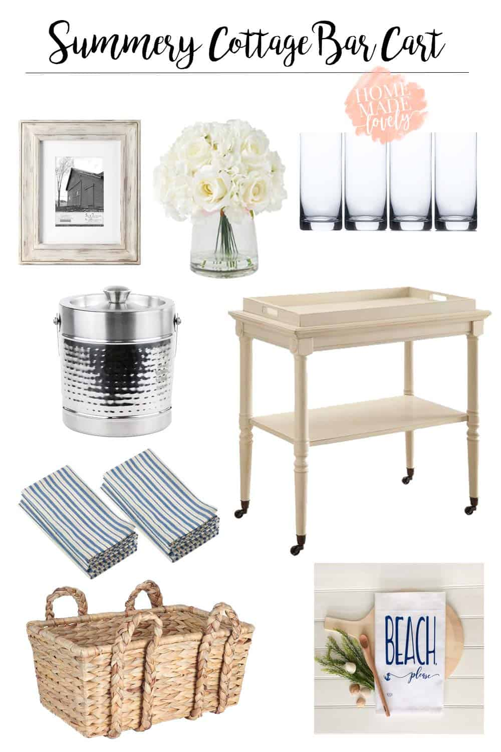 summery cottage style bar cart