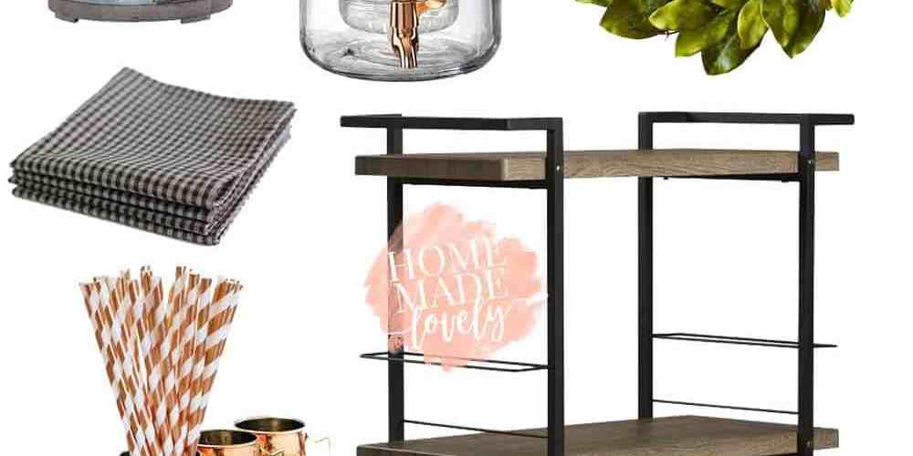 Summery farmhouse bar cart