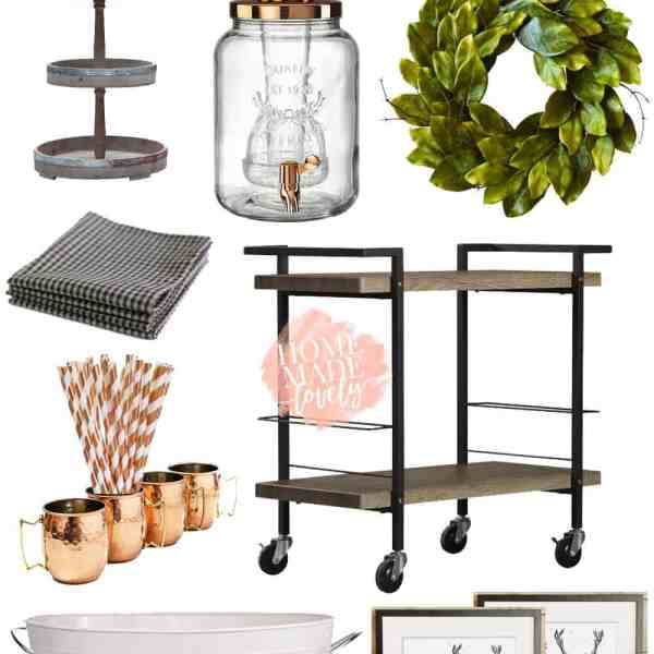 Summery farmhouse bar cart