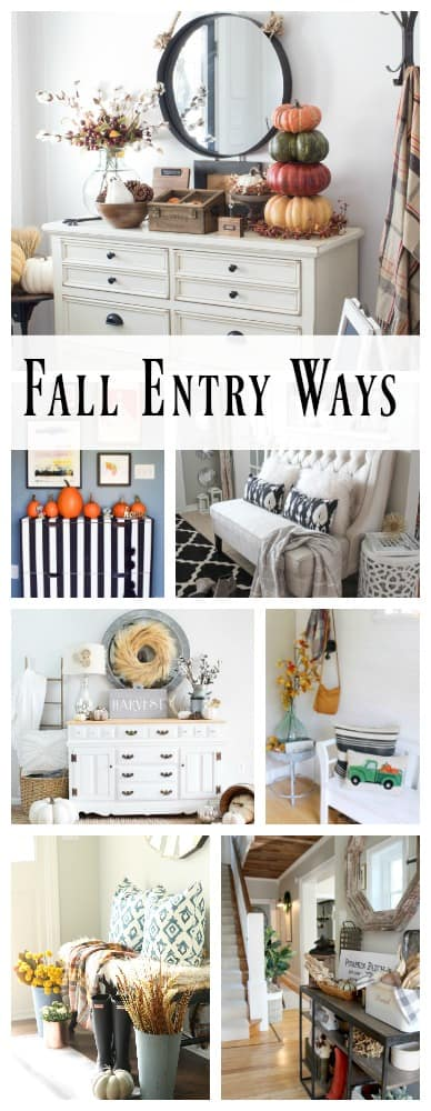 Here's our warm farmhouse fall entryway tour filled with rustic, traditional colors and textures.