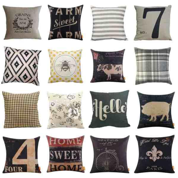 Farmhouse Throw Pillow Covers from Amazon