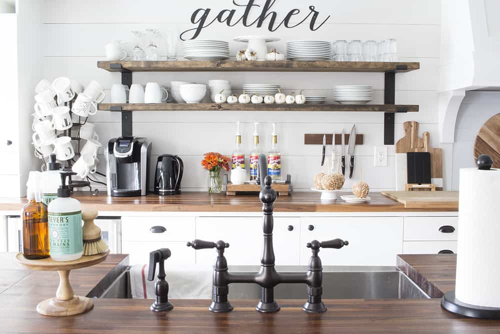 farmhouse kitchen open shelving fall decor