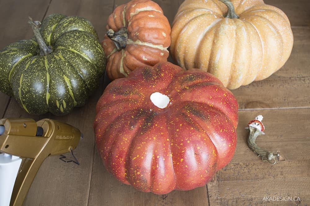 faux pumpkins stem out