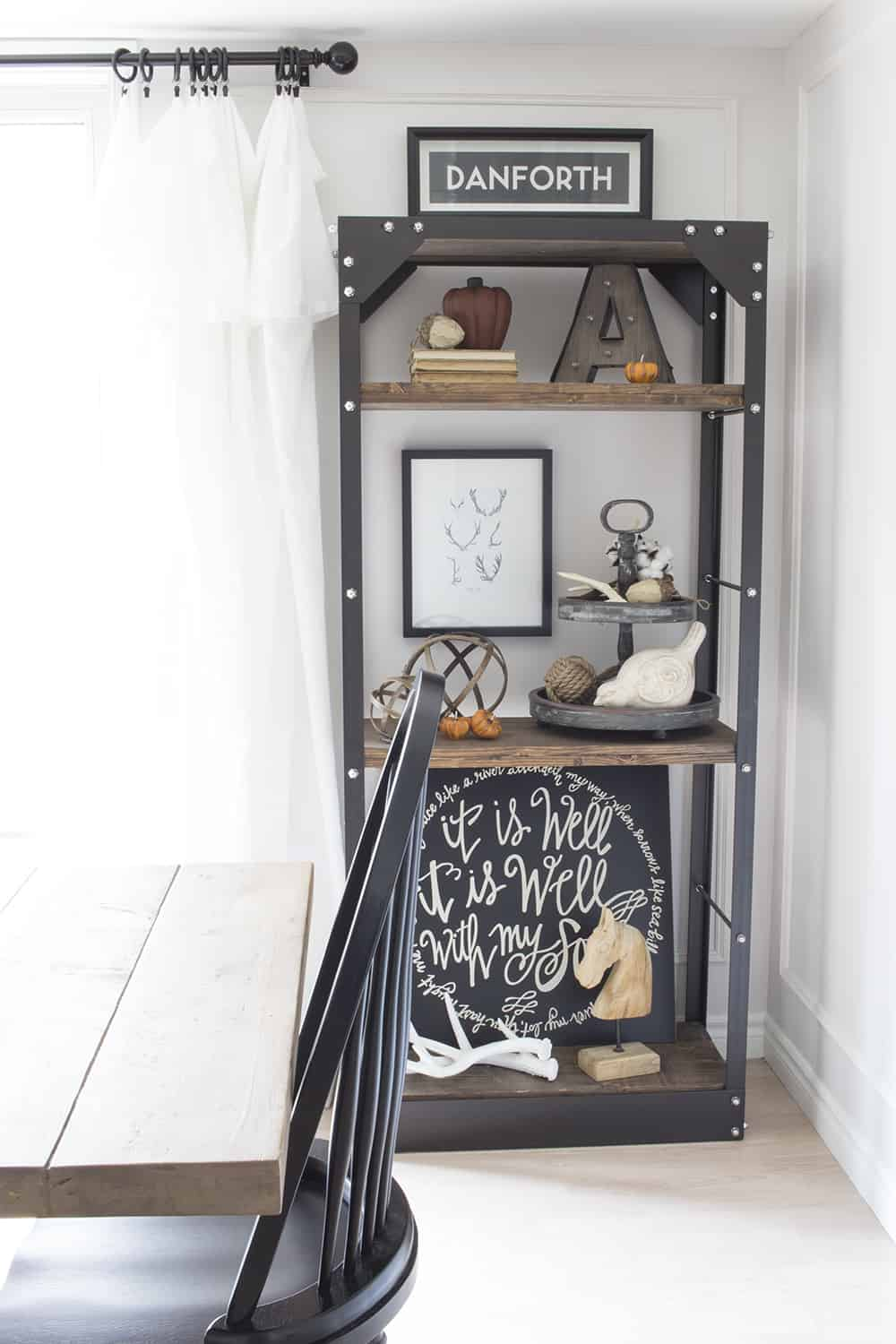 rustic industrial shelves for fall