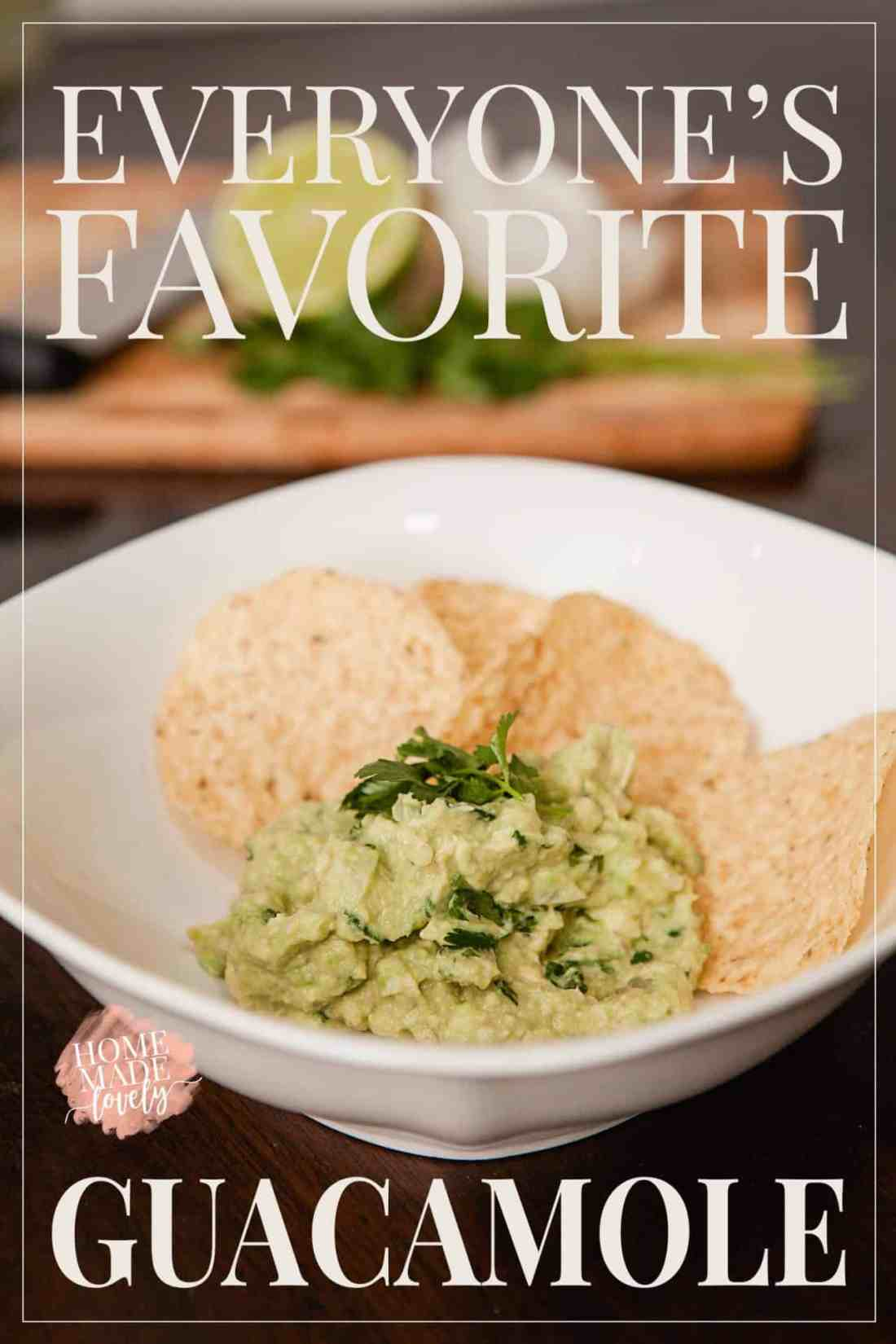 guacamole in a white dish with corn chips
