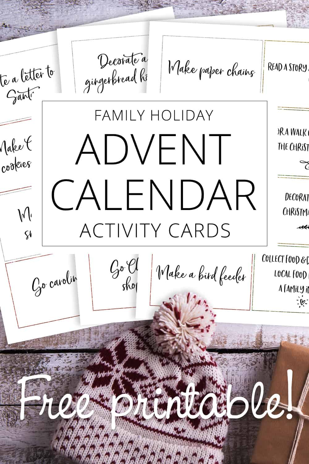family activity advent cards