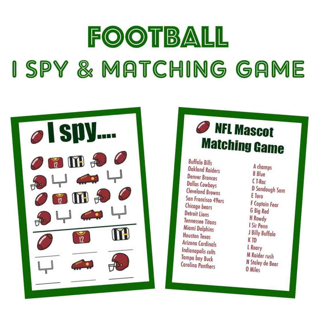 Football I Spy and NHL Mascot Matching Game