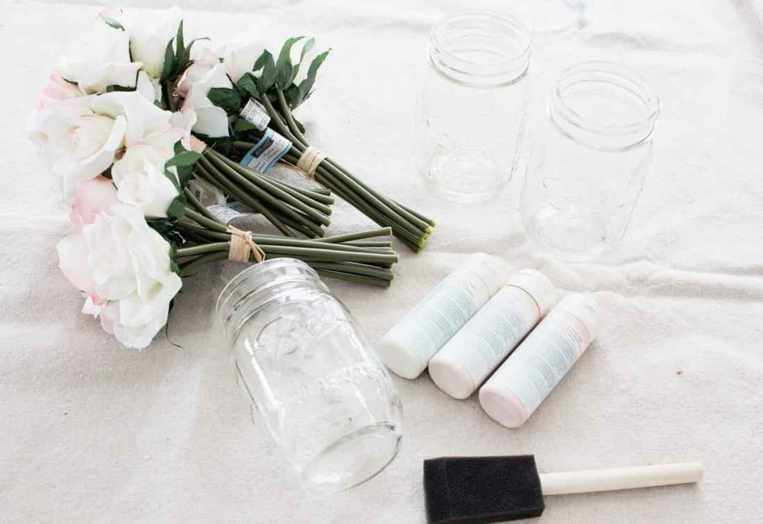 Ombre Blush Pastel Painted Mason Jar Vases supplies: mason jars, faux flowers, pastel paint, foam brushes and plate