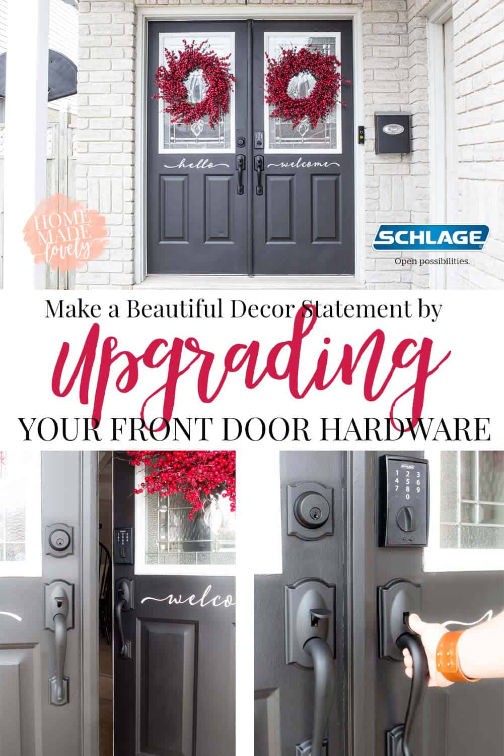 black double front doors with black hardware and red wreaths. right door slightly ajar
