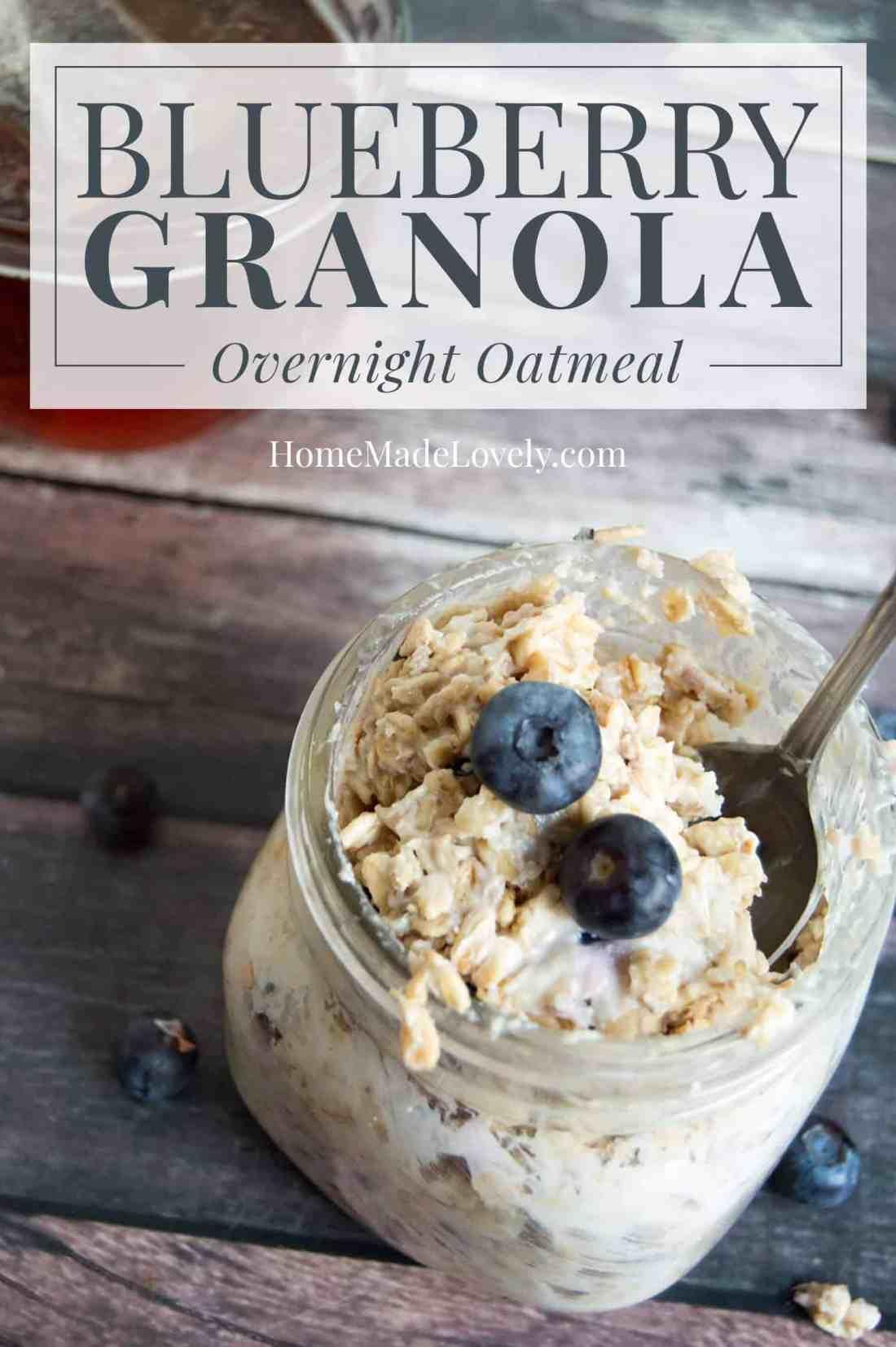 Blueberry Granola Overnight Oatmeal in mason jar on wood table