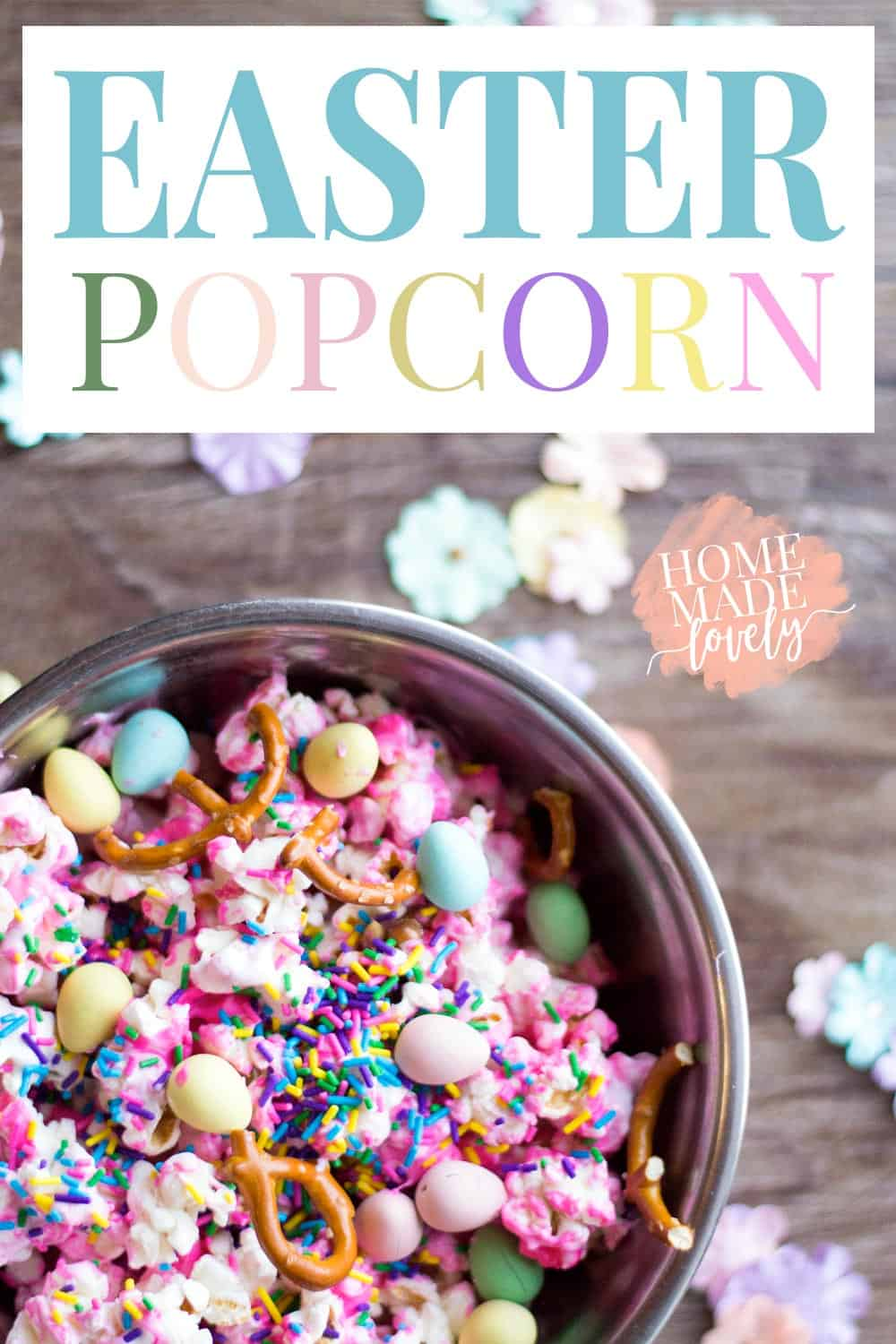 colorful easter popcorn with candy in a metal bowl
