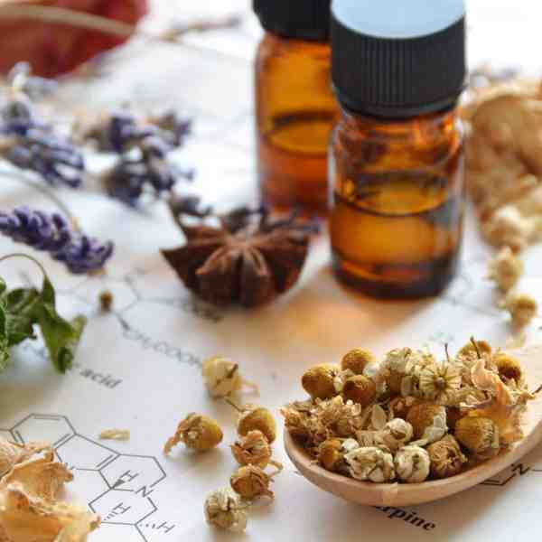 essential oil bottles, herbs, scientific formulations on paper