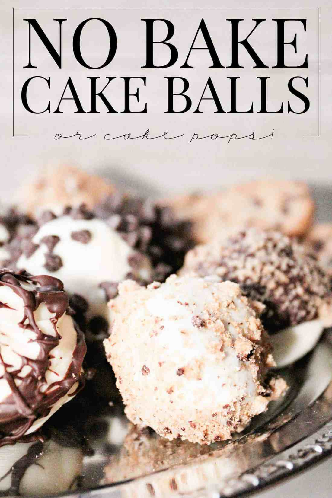 cake balls, decorated, on a silver platter