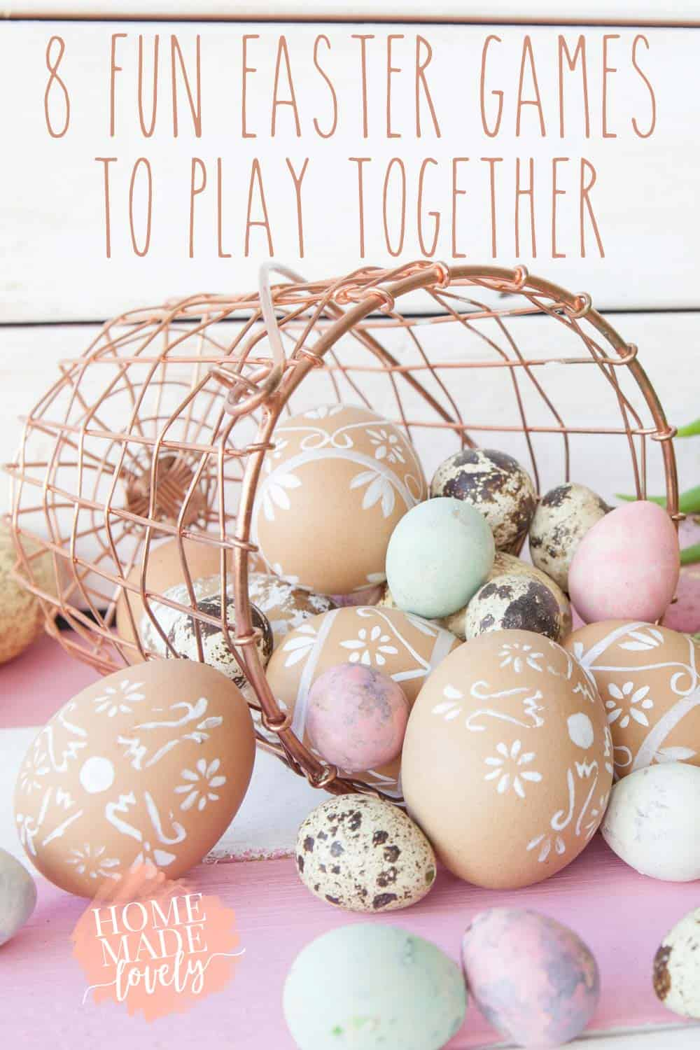 easter eggs in a basket - Part of the fun of Easter weekend is playing fun family games together. Here are 8 fun Easter games to play with your family this year!