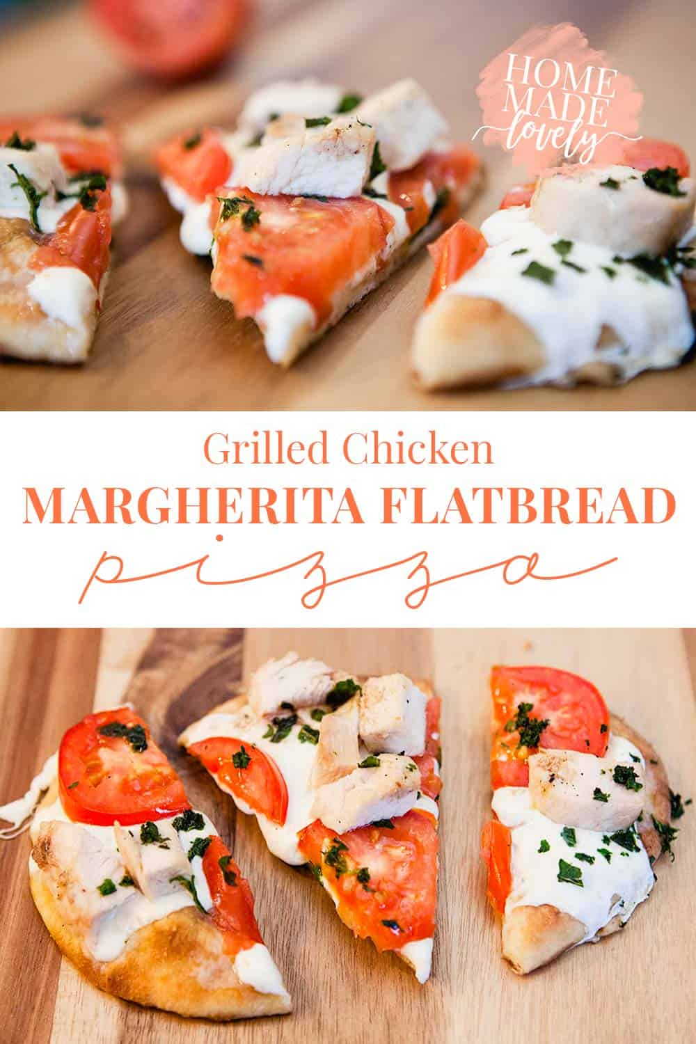 Forget the delivery! ThisGrilled Chicken Margherita Flatbread Pizza makes the perfect weekday lunch or even date night dinner!