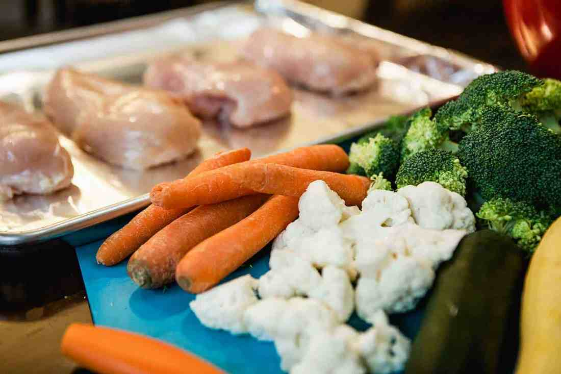 raw chicken and veggies ready to prepare