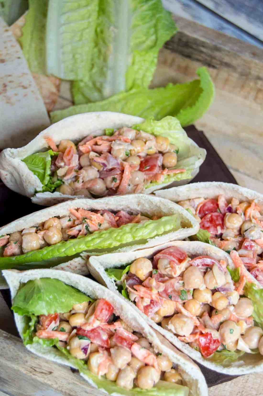 A deliciously filling, yet light lunch or dinner for the the whole family. These chickpea and veggie pitas sneak in a generous serving of vegetables and protein and will have everyone coming back for more!
