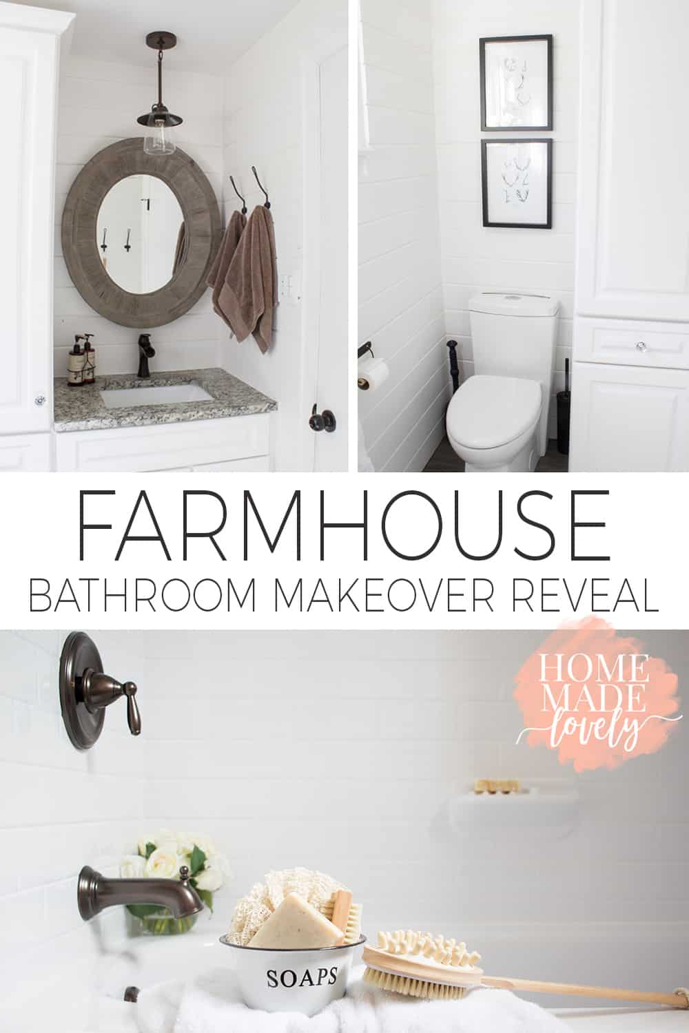 A few months before we moved to this house, we redid the bathroom at our old house. Here is that farmhouse bathroom makeover reveal. Better late than never, right?!