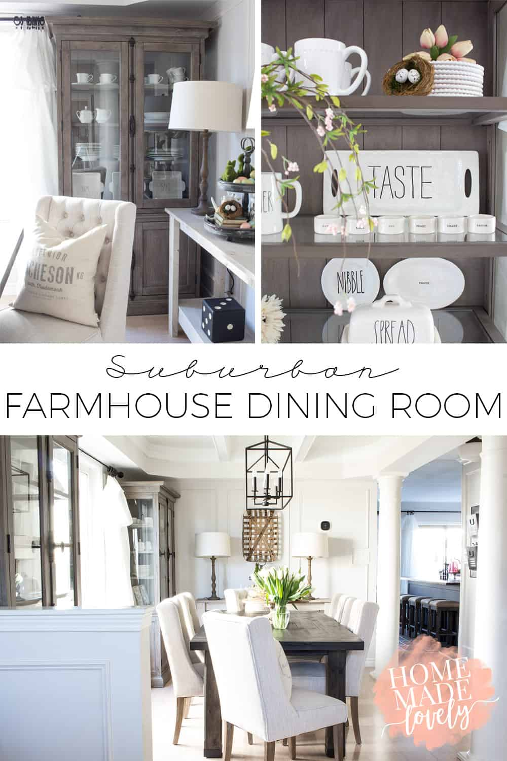 A few weeks ago we shared the mood board and plan for our suburban farmhouse dining room makeover. Today we're thrilled to share the reveal with you!