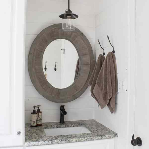 Farmhouse Bathroom Makeover Reveal – Shiplap Walls, Dark Fixtures and More!