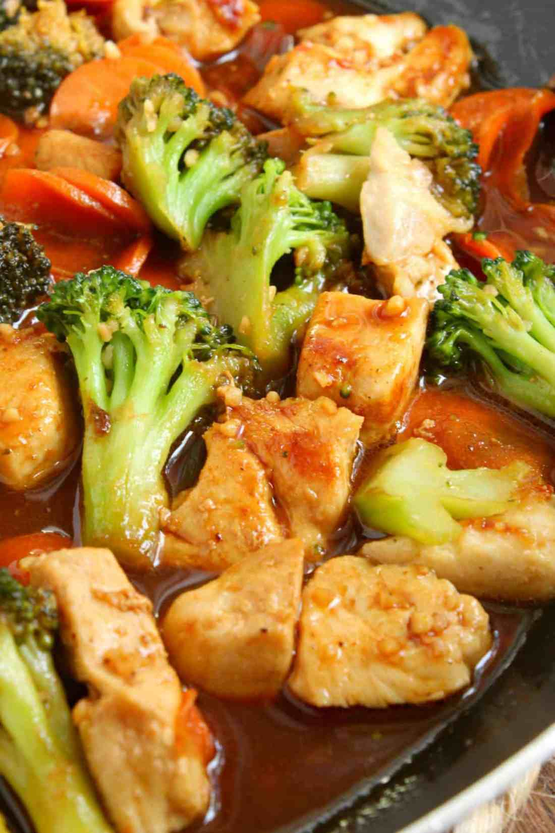 chicken, broccoli and carrots in a honey garlic sauce