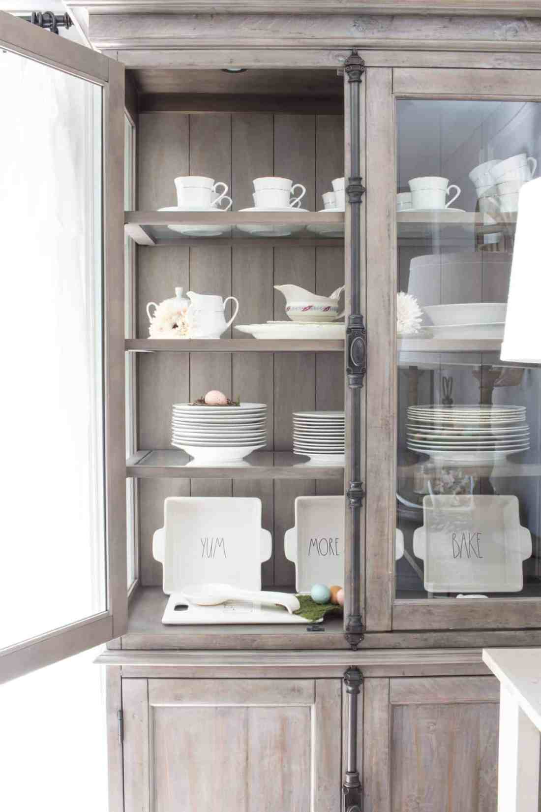 open storage in hutch dishes on display