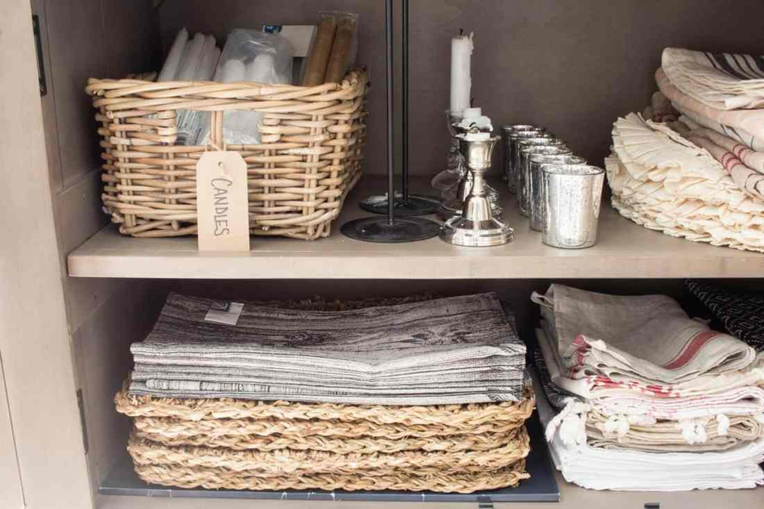 Placemats and candles in closed hutch storage