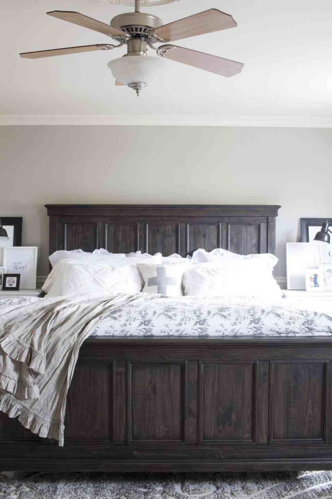 bedroom shot with ceiling fan