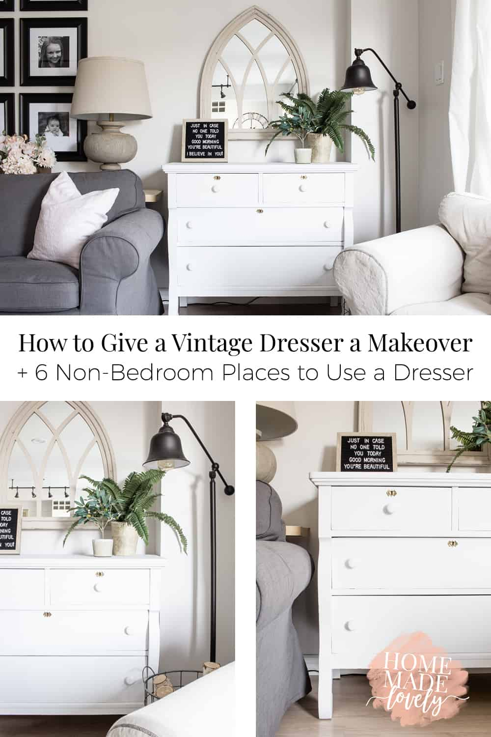 Sometimes there's nothing like a vintage piece to bring some extra character - and storage space to a room. Here's how to give a vintage dresser a makeover and 6 non-bedroom places to use a dresser too!