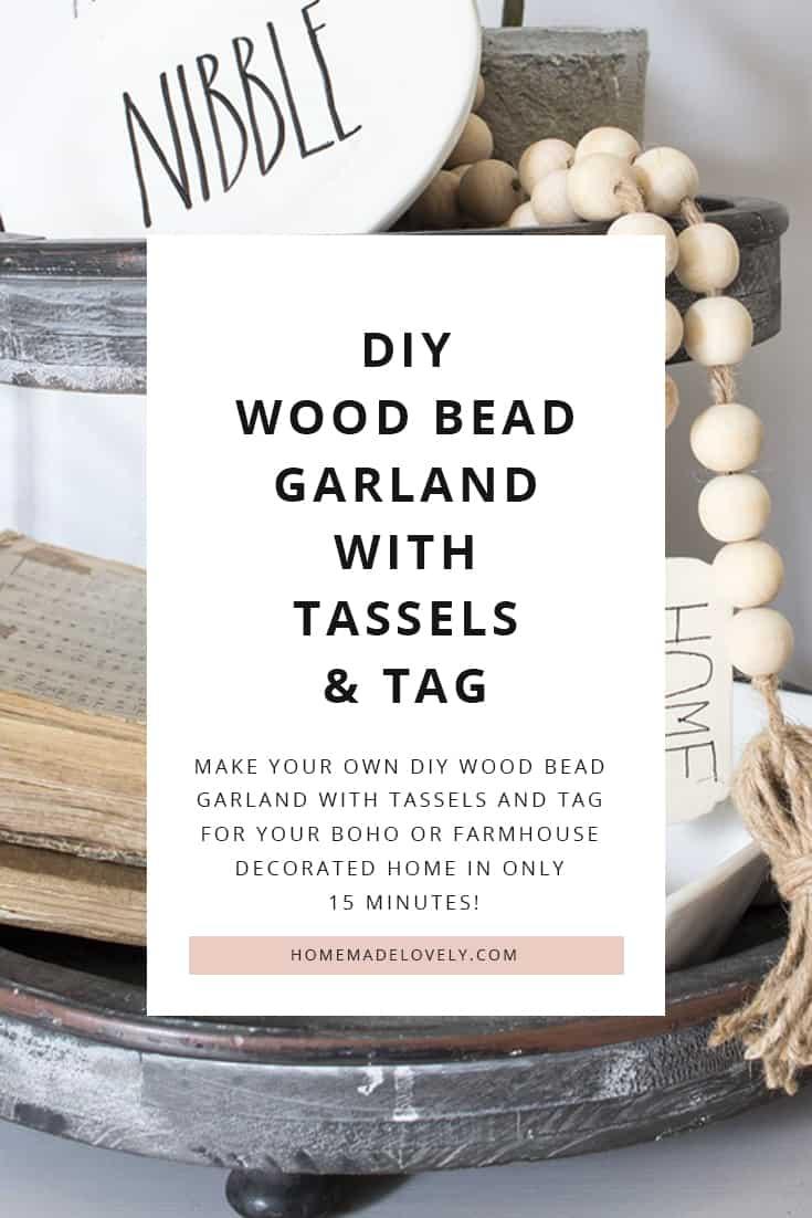 diy wood bead garland with tassels