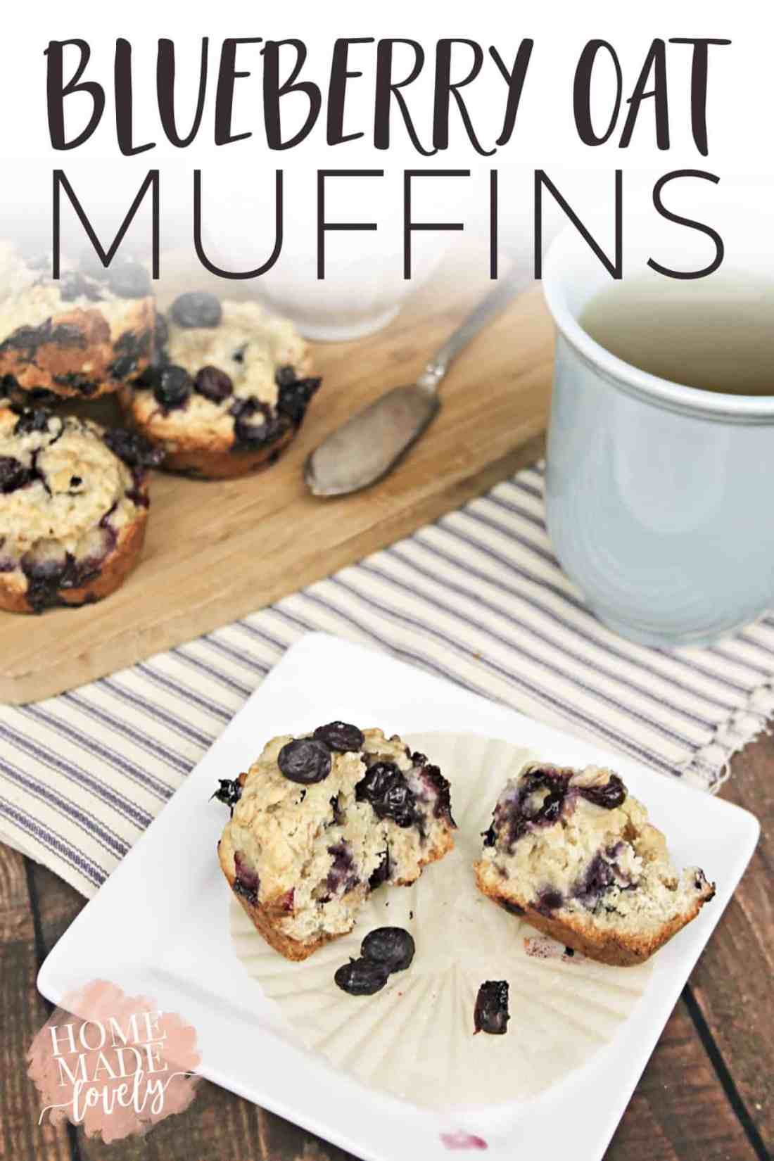 Make these yummy, family-favorite blueberry oat muffins for breakfast or a quick snack! #recipe #blueberrymuffin #nationalblueberrymonth