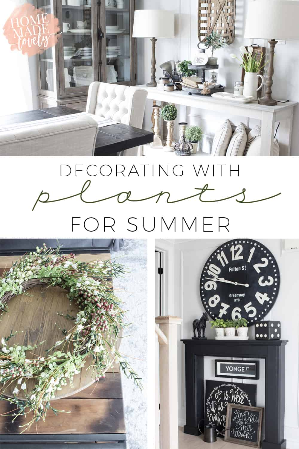 Picking a color to decorate with this summer was hard. I didn't want to change everything out this season. So, I'm decorating with plants for summer instead.