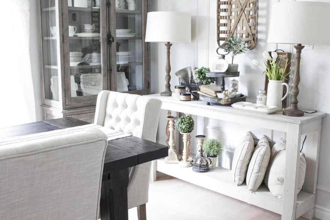 dining room console decorating with plants for summer