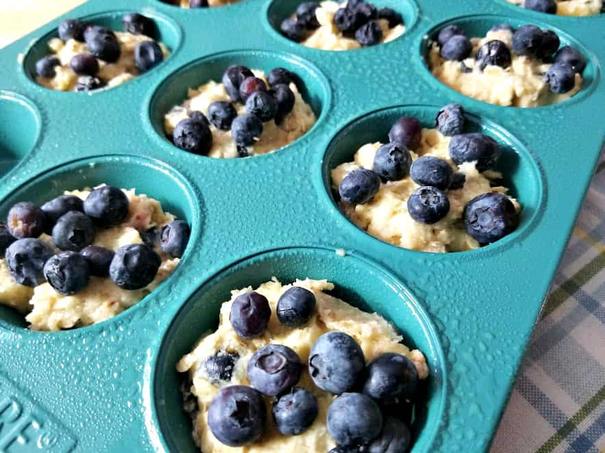 scoop into muffin tin, add blueberries if desired